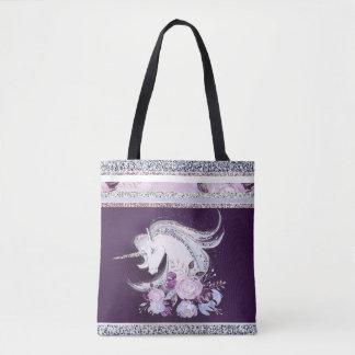 Pretty Watercolor Unicorn Purple Silver Lines Tote Bag