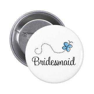 Pretty Wedding Day Bridesmaid Blue Button