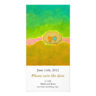 Pretty whimsical wedding art Summer Love Protected Photo Card Template