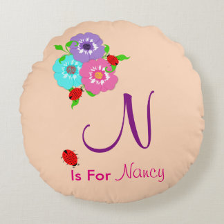 Pretty Whimsy Custom Baby Name Round Pillow