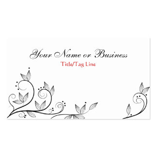 Pretty White, Black and Red Vines Business Card