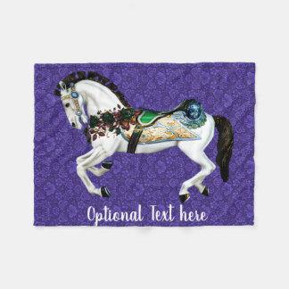 Pretty White Carousel Horse Fleece Blanket
