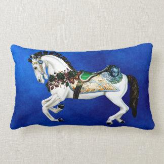 Pretty White Carousel Horse on Deep Blue Lumbar Pillow