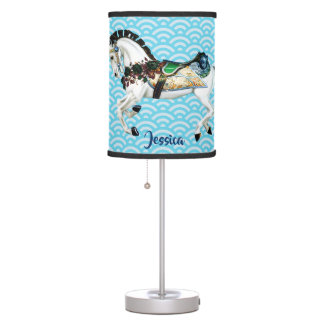 Pretty White Carousel Horse Table Lamp