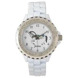 Pretty White Carousel Horse Watch