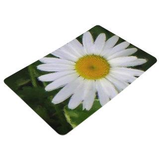 Pretty white daisy floral photo art floor mat