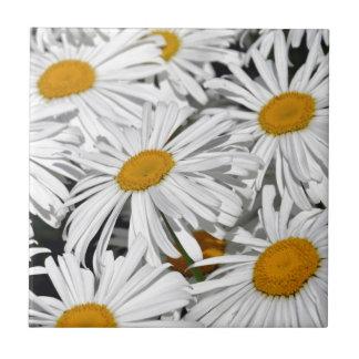 Pretty white daisy flower print ceramic tiles