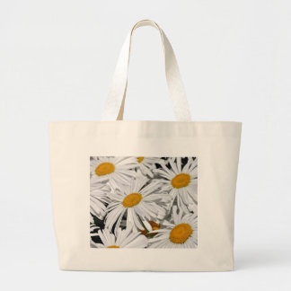Pretty white daisy flower print large tote bag