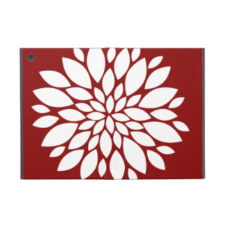 Pretty White Flower Petal Art on Red Cover For iPad Mini