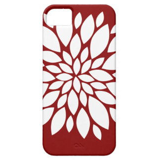 Pretty White Flower Petal Art on Red iPhone 5 Cases