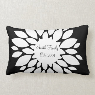 Pretty White Flower Petals Art on Black Lumbar Pillow