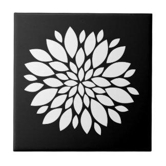 Pretty White Flower Petals Art on Black Tile