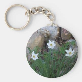 Pretty White Flowers in a Rock Garden Basic Round Button Keychain