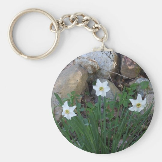 Pretty White Flowers in a Rock Garden Keychain