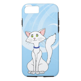 Pretty White Male Cat With Green Eyes iPhone 7 Case