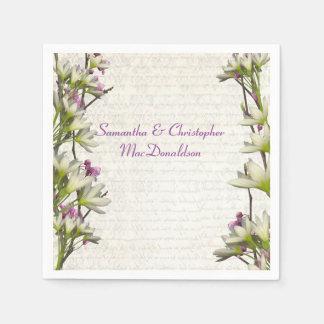 Pretty white mauve lilac floral country wedding paper napkin