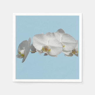 Pretty White Orchid on Light Blue Paper Napkins