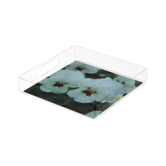 Pretty White Pansies Acrylic Tray