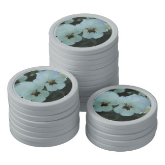 Pretty White Pansies Poker Chips