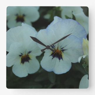 Pretty White Pansies Square Wall Clock