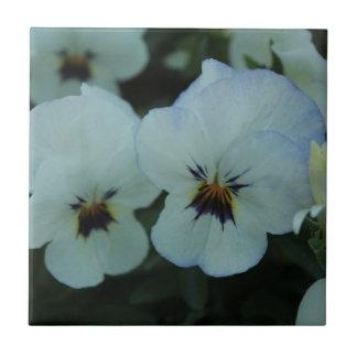 Pretty White Pansies Tile
