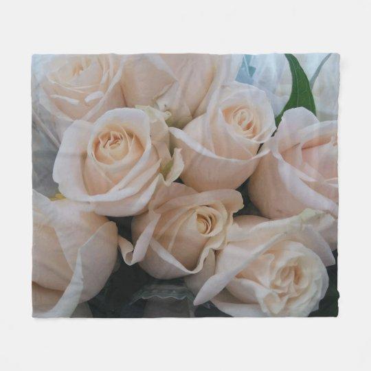 Pretty White Roses Print Fleece Blanket for Her