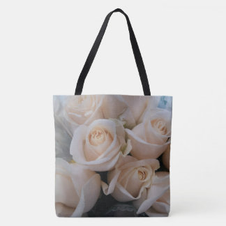 Pretty White Roses Print Tote for Her