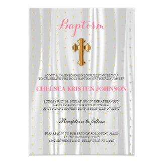 "Pretty White Satin Baptism / Christening 5"" X 7"" Invitation Card"