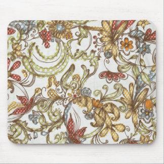 Pretty Wild Flower Swirls Background Mousepads