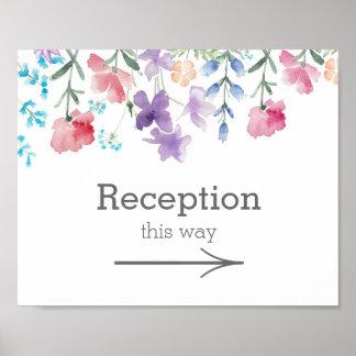Pretty Wildflowers   Garden Wedding Reception Sign Poster