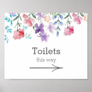 Pretty Wildflowers   Garden Wedding Toilets Sign Poster