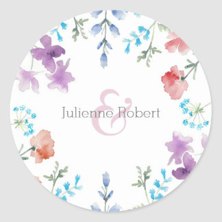 Pretty Wildflowers Rustic Floral Wedding Sticker
