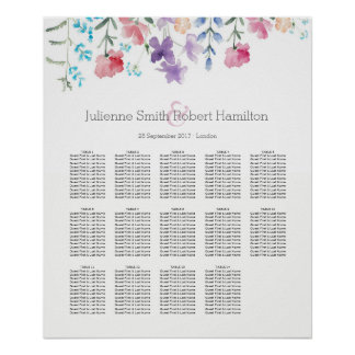 Pretty Wildflowers    Seating Chart 14 Tables Poster
