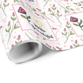 Pretty Wildlflowers and Sun Hello Beautiful Wrapping Paper