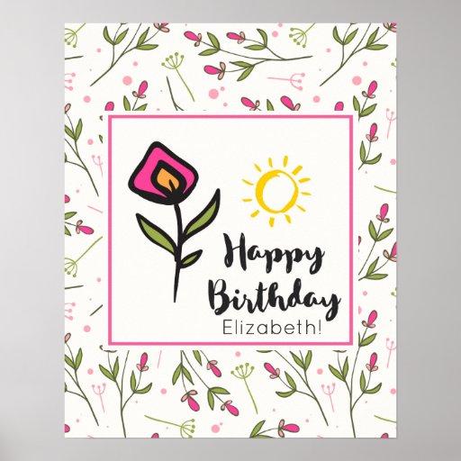 Pretty Wildlflowers and Sun Illustration Birthday Poster