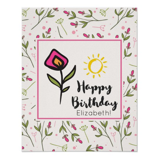 Pretty Wildlflowers and Sun Illustration Birthday Poster