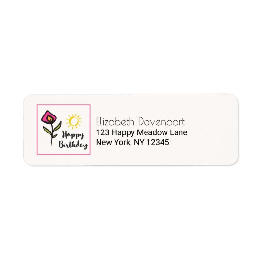 Pretty Wildlflowers and Sun Illustration Birthday Return Address Label