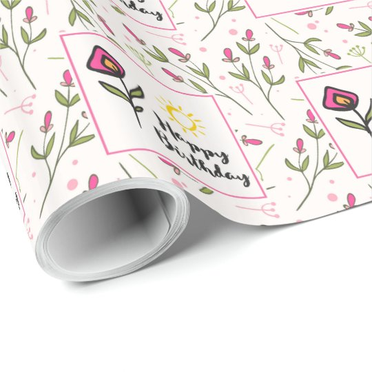 Pretty Wildlflowers and Sun Illustration Birthday Wrapping Paper