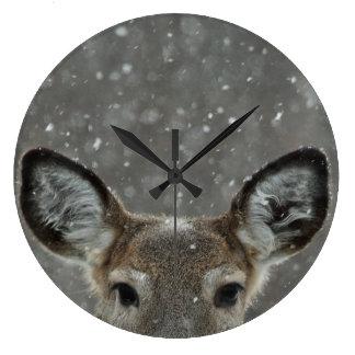 Pretty Winter Deer In Snowfall Large Clock