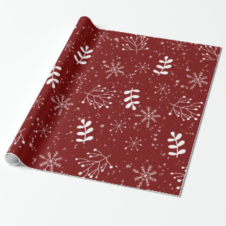 Pretty Winter Foliage Christmas Holiday Wrapping Paper