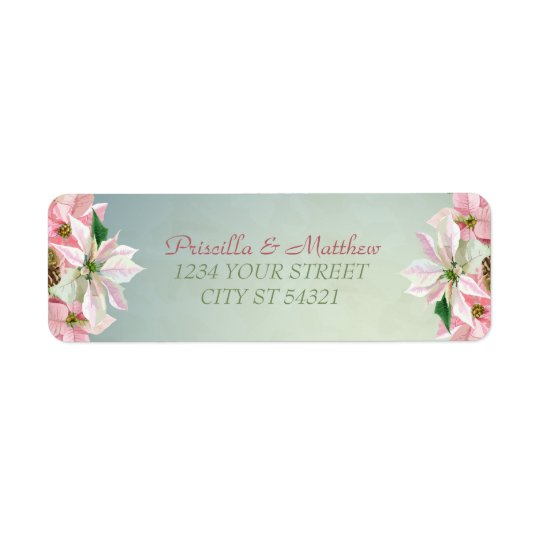 Pretty Winter Pine & Poinsettia Address Labels