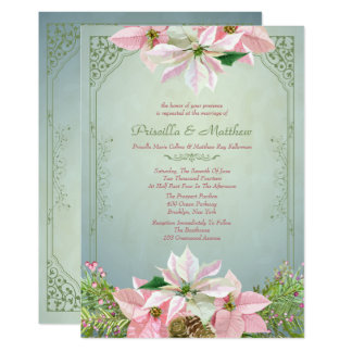 Pretty Winter Pine & Poinsettia, Floral Wedding Card