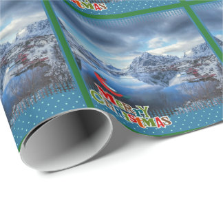 Pretty Winter scene Norway holiday wrapping paper