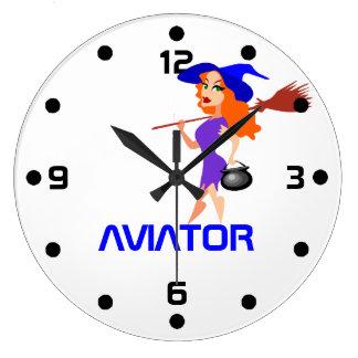 Pretty witch Aviator customizable Large Clock