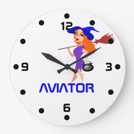 Pretty witch Aviator customizable Wallclock