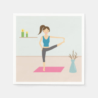 Pretty Woman Practising Yoga In A Stylish Room Disposable Napkins