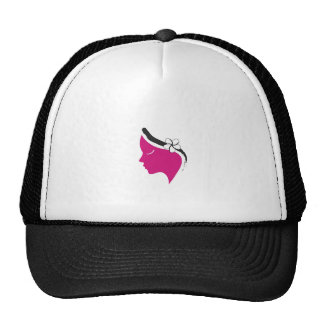 Pretty woman with flower on hair trucker hat
