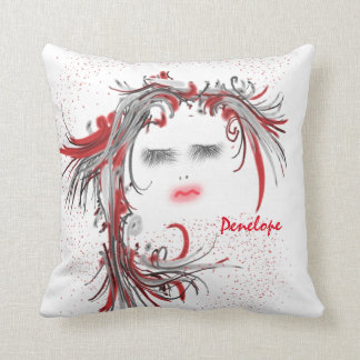 Pretty Woman's Face with Flowy Red Hair Add a Name Throw Pillow