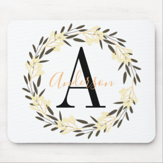 Pretty Yellow and Black Floral Wreath Monogrammed Mouse Pad
