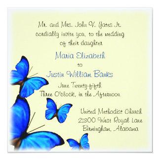 Pretty Yellow and Blue Wedding Invitation